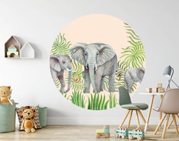 Seamless border pattern of watercolor savannah safari animals. Hand painted African elephants, palm tree leaves, grass, herbs, bush isolated on a beige background