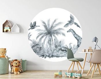 Watercolor compositions with zebra, giraffe, ostrich, birds, palm tree in black and white color. Vintage illustration elements. Jungle forest and animals for poster, card, decorations, wallpaper