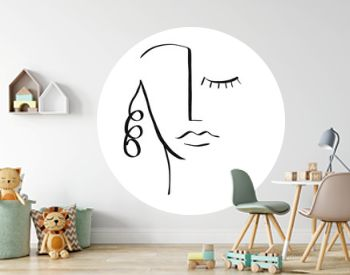 Sketch of abstract line face of man or woman. Cubism contemporary face. Modern art. Design for poster, home decor.