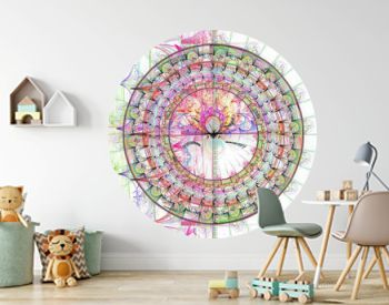 Abstract colored mandala wheel and rose window