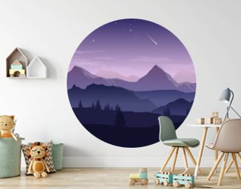 Blue and purple landscape with silhouettes of mountains, hills and forest and stars in the sky - vector illustration