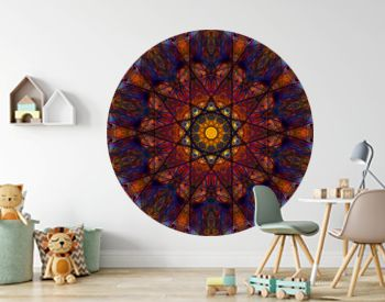 Elegant star-shaped mandala Art with a beautiful kaleidoscopic pattern and many small colorful details.