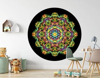 Multi colored abstract flame mandala flower, ornamental round pattern on black background. Yoga theme.