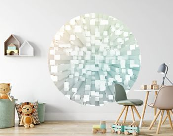 Glowing white and colorful abstract squares background pattern 3D rendering
