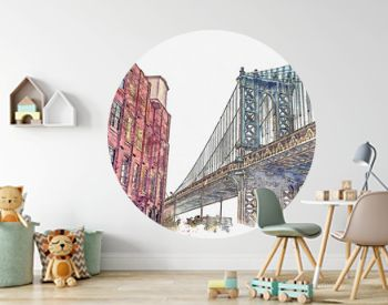 Watercolor sketch or illustration of a beautiful view of the Brooklyn Bridge and other buildings in NYC in the USA