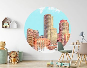 Watercolor sketch or illustration of a beautiful view of the modern urban architecture of Boston in the United States. Cityscape or urban skyline