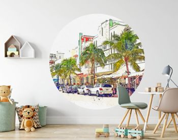 Watercolor sketch or illustration of a beautiful view of the street called Ocean Drive, Miami Beach in America