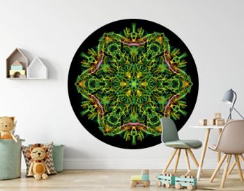 Colorful abstract flame mandala flower, ornamental floral hexagonal pattern on black background. Yoga theme.