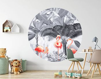Landscape monochrome background, jungle, palm trees and large plants, large feathers, three pink flamingos
