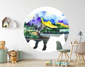 Watercolor drawing, double exposure with bison.