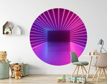 3d rendering, abstract neon background, empty square tunnel with pink glowing lines, long corridor, road, performance stage, floor reflection, ultraviolet light