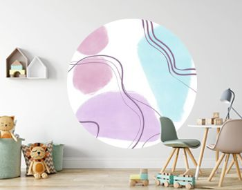 Geometric poster with pastel and geometric shapes. Abstract contemporary modern trendy print. Scandinavian style. Hand drawn illustration.