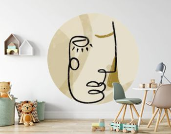 Abstract line continuous face. Contemporary drawing in modern cubism style. Portrait of a woman face isolated on colorful pastel textures with shapes.