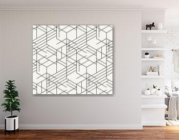Modern monochrome irregular geometric hexagonal background in trendy outlined style. Unique hipster texture perfect for interior design, wallpaper and prints. Vector seamless pattern.