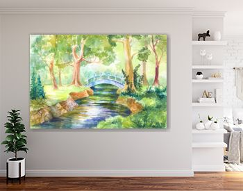 Forest landscape watercolor. bridge across the river. Walk  nature. illustration for background, wallpaper, paper or cover. Travel, travel, rest, picnic in the forest.