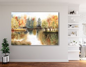 Watercolor autumn landscape with trees on islands and their reflections in a lake
