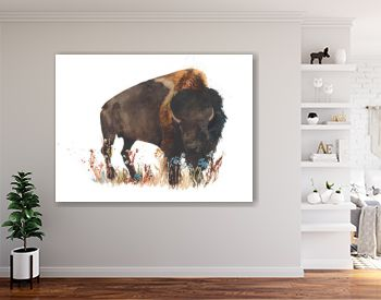 Bison buffalo bull wild animal watercolor painting illustration isolated on white background
