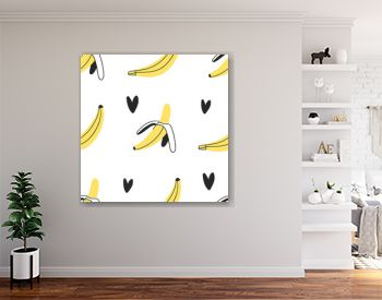 Hand drawn seamles pattern with tropical fruit. Vector artistic drawing food. Summer illustration banana