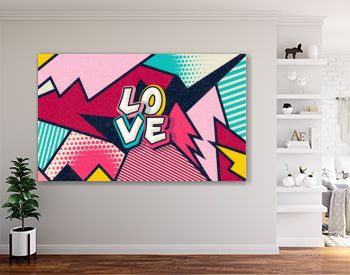 Love! Pop art funny comic word. Fashionable poster and banner. Social Media Connecting Blog Communication Content. Trendy and fashion color retro vintage illustration background. Vector easy editable