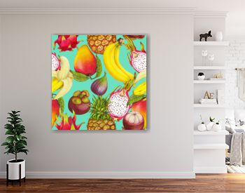 Seamless tropical pattern of hand drawn fresh juicy fruits