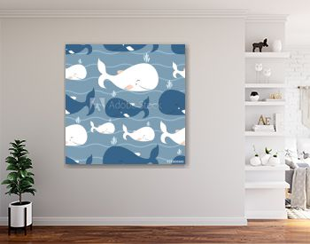 Whale Seamless Vector Pattern.Vector background