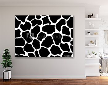 Giraffe skin pattern texture repeating seamless monochrome black and white. Vector. Texture giraffe. Fashionable print. Fashion and stylish background. Fabric, wallpaper or texture for 3D. Fur