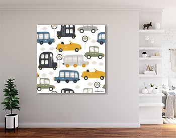 Seamless pattern with funny cars. Fashion kids print. Vector hand drawn illustration.