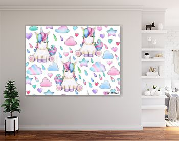 Cute, magic unicorn  seamless pattern,   isolated on white.