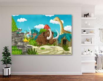cartoon cavemen village scene with volcano and dinosaur diplodocus and mammoth in the background - illustration for children