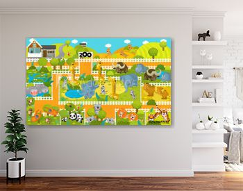 cartoon scene with zoo and tropical animals - illustration for children