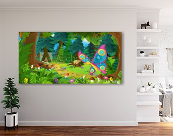 cartoon summer scene with deep forest and butterfly flying - nobody on scene - illustration for children