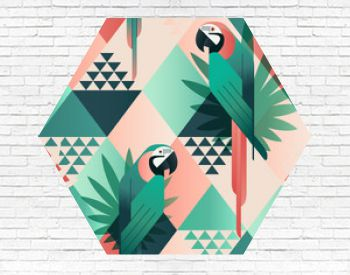 Exotic beach trendy seamless pattern, patchwork illustrated floral vector tropical leaves. Jungle red and green parrots. Wallpaper print background mosaic.