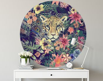 Seamless hand drawn watercolor pattern with leopard head, flowers, feathers, flowers.