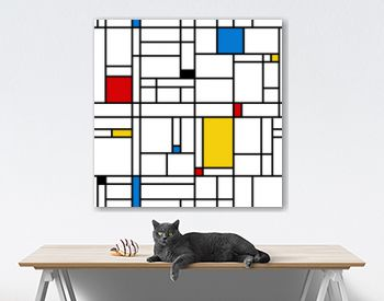 Mondrian style abstract geometric seamless pattern.